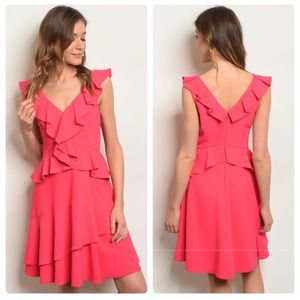 Adorable Hot Pink Ruffle Fit N' Flare  Dress